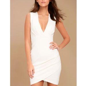 Lulus White Bodycon Deep V neck Mini dress